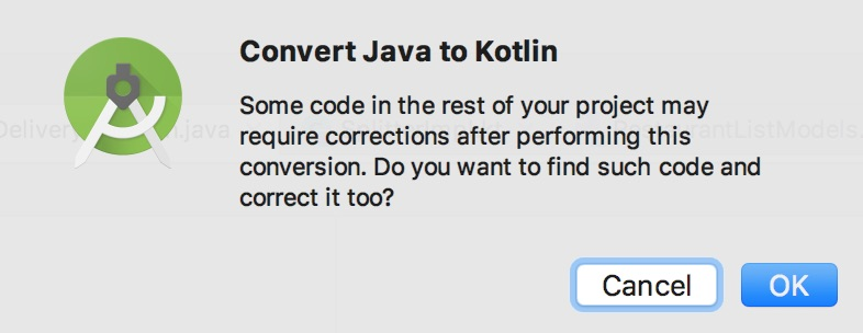 Kotlin conversion dialog